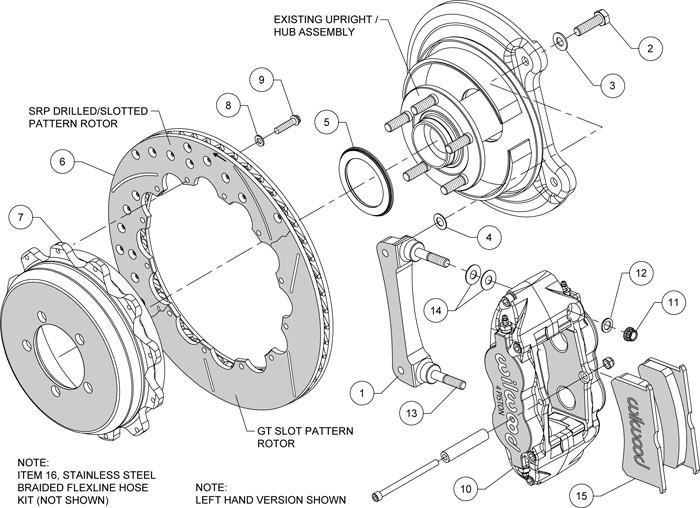 Wilwood FNSL4R Black Rear Slotted Big Brake Kit 2002-2005 Subaru WRX