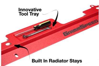 Grimmspeed Silver Radiator Shroud w/ Integrated Tool Tray Subaru WRX / STI 2002-2007