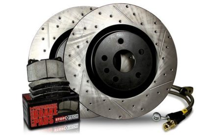 Stoptech Stage 2 Drilled/Slotted Sport Brake Kit Front + Rear Subaru WRX 2006-2007